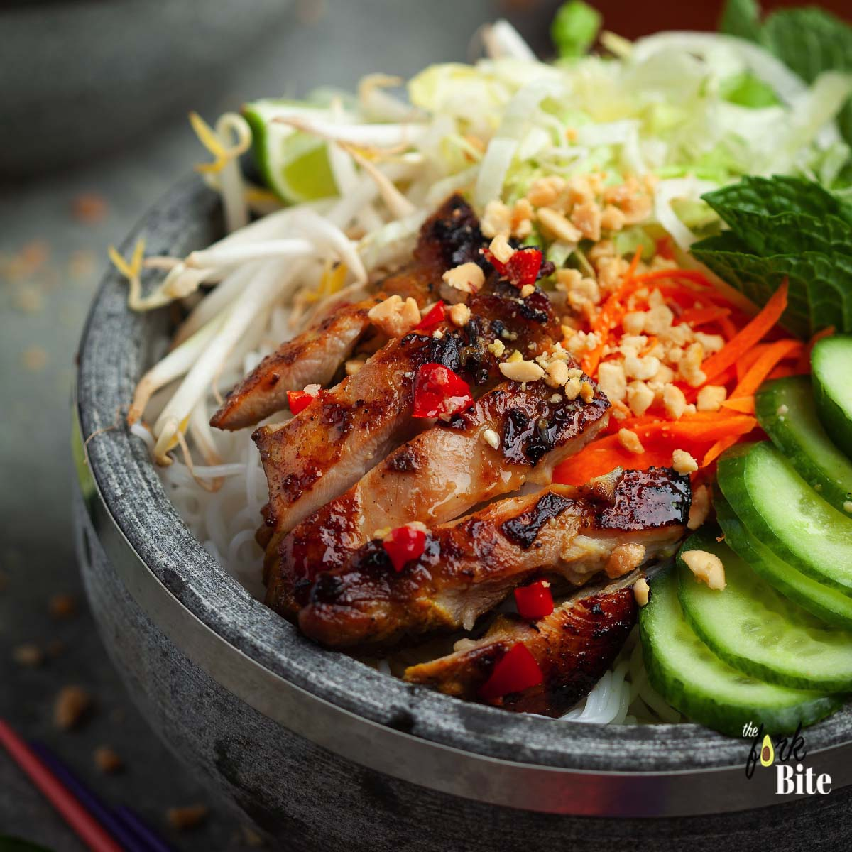 Vermicelli noodles (Bun Ga Nuong) topped with your favorite veggies and Vietnamese lemongrass chicken. Laced with Nuoc Cham, the famous dipping sauce that's served with everything in Vietnam.