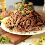 These tender, juicy carnitas are slow-cooked, which yields pork easily fall apart with full of flavors, and a bit of citrus zest. Cooked in high heat to get that crispy, caramelized bits of pork.