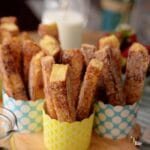Use stale bread for your cinnamon French toast sticks to hold their shape. Breakfast you can eat with your fingers and dip in syrup.